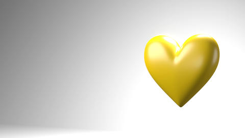 Yellow broken heart objects in white text space Animation