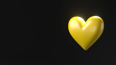 Yellow broken heart objects in yellow text space Animation