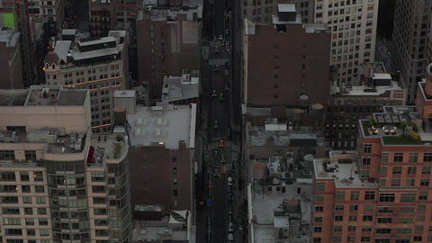AERIAL: Flight in the heart of Manhattan New York City at Dusk Live Action