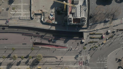 AERIAL: Overhead Shot of Columbus Monument Roundabout and Street in Barcelona Live Action