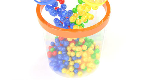 Color balls fall. Isolated object. Lottery, bingo, lotto. Concept design Live Action