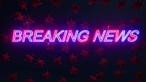 Breaking news virus. Attention caution. Digital network concept. Coronavirus Live Action