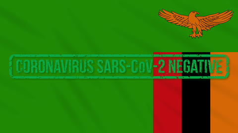 Zambia swaying flag with green stamp of freedom from coronavirus, loop Animation