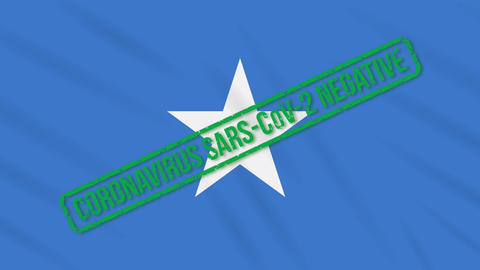 Somalia swaying flag with green stamp of freedom from coronavirus, loop Animation