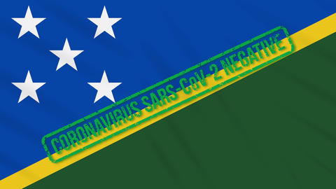 Solomon Islands swaying flag with green stamp of freedom from coronavirus, loop Animation