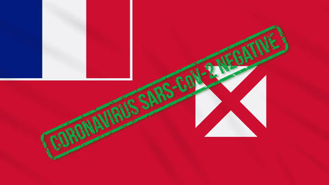 Wallis and Futuna swaying flag with green stamp of freedom from coronavirus loop Animation