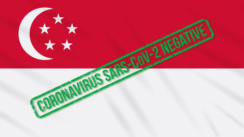 Singapore swaying flag with green stamp of freedom from coronavirus, loop Animation