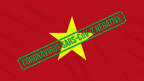 Vietnam swaying flag with green stamp of freedom from coronavirus, loop Animation