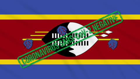 Kingdom of eSwatini swaying flag with stamp of freedom from coronavirus, loop Animation