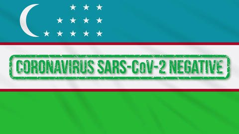 Uzbekistan swaying flag with green stamp of freedom from coronavirus, loop Animation
