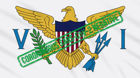 Virgin Islands swaying flag with green stamp of freedom from coronavirus, loop Animation