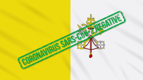 Vatican swaying flag with green stamp of freedom from coronavirus, loop Animation