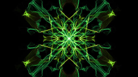 Fractal patterns in tunnel motion, square ornament with color changing effect on Animation