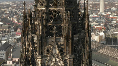 AERIAL: Super Detail Close Up of Cologne Cathedral brown Towers in beautiful Live Action