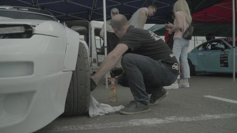 Racing car in the pitstop. Car sport. Slow motion. Race. Kyiv. Ukraine Live Action