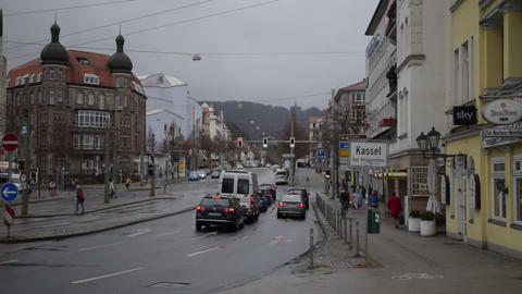 Cars in Traffic, Traffic Light on Rayni Road in Kassel, Germany Daylight Live Action