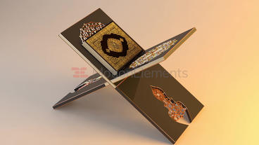 Holy Quran Book and Reading Table, 3D models