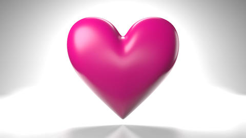 Pulsing pink heart shape object on white background Animation