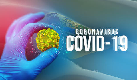 Coronavirus COVID-19 outbreak concept, background with flags of the states of Photo