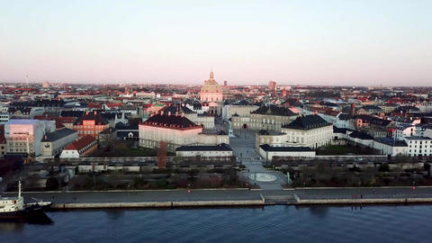 Amalienborg Palace and Marble Church in Copenhagen, Denmark Live Action