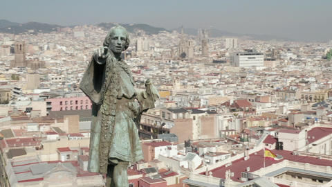 AERIAL: Close up Circling Columbus Monument in Barcelona, Spain on Beautiful Live Action