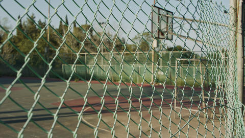 Abandoned and neglected basketball court due to corona virus outbreak Live Action