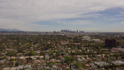 AERIAL HYPER LAPSE: Towards Downtown Los Angeles only Cloudy Day Drone Time Live Action