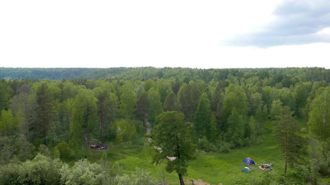 View from the Bridge of karst. The park Deer Streams, Russia Footage