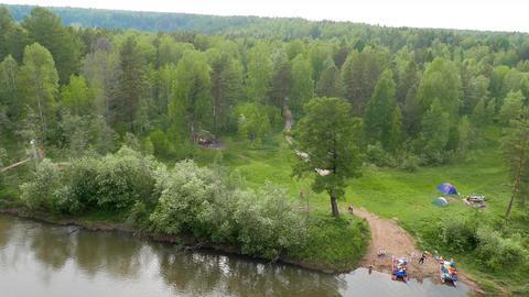 Suspended Bridge. The river Serga, Russia Footage