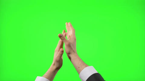 Young businessman making hand gestures on green screen Footage