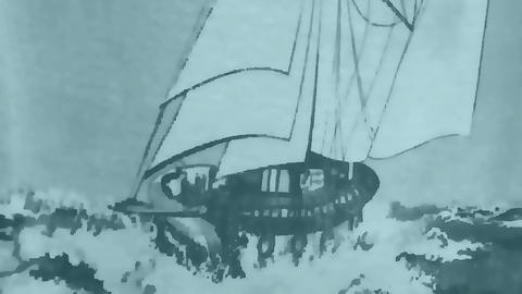 Sailing ship in a stormy Animation