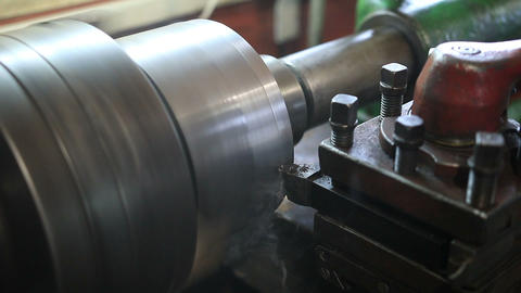 Cutting tool processing on old lathe machine Footage