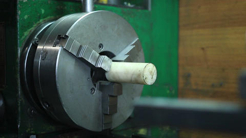 Workpiece in headstock of turning lathe machine Footage