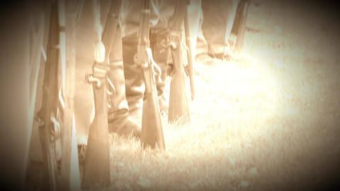 Civil War soldiers feet and guns in a row (Archive Footage Version) Footage