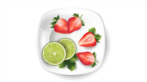 Still life of fruit: lime and strawberries on a white plate Live Action