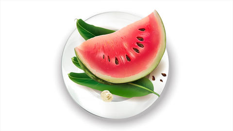 Animation of watermelon, leaves and banana on a white plate Live Action