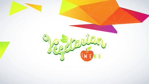 vegetarian option list garnished with an orange cherry and a amazing conceptual pattern with 3d Animation