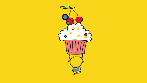 adorable doodle of a happy little boy holding a big appetizing cupcake over his head with lines like Animation