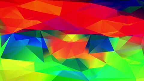 multicolored digital collage of shape and polygon geometric conceptual forms creating a 3d flaming Animation