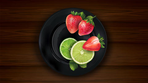 Sliced lime and strawberries on a dark plate and wooden table Animation