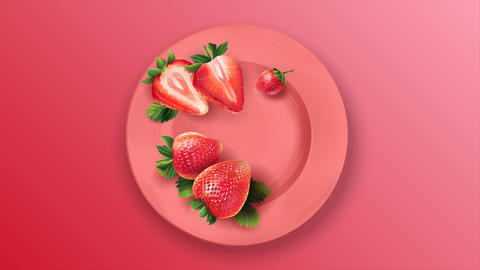 Whole and sliced strawberries on a pink plate Animation