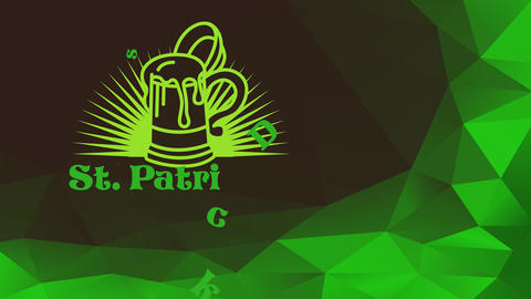 st patricks day with a green brew over pointy sun radiation manipulation celtic typography decorated Animation