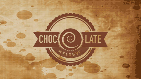 rounded of natural cocoa goods with a spiral replacing letter o in the word chocolate Animation