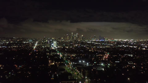 AERIAL HYPER LAPSE: Towards Downtown Los Angeles only at Night with CIty Lights Live Action