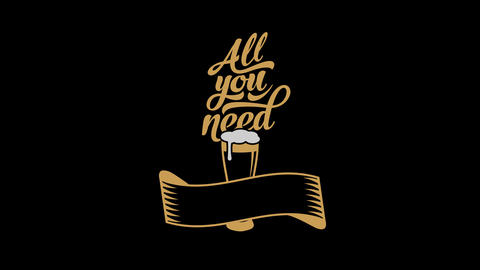 classic poster for beer lovers combining modern and old fashioned typography and a glass overflowing Animation
