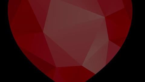 shiny red heart floating on a white canvas with geometric forms giving tridimensional effect Animation