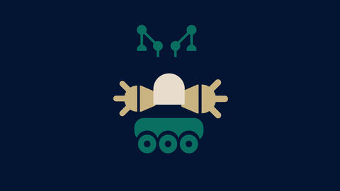 baby robot doodle animation building up gradually with car wheels as legs steel antennas cute small Animation