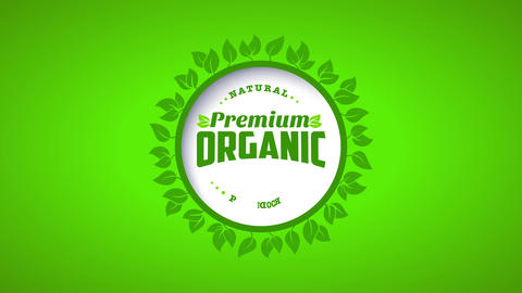 ring of leafs of an eco kind product manipulation classic offset over a lime green canvas Animation