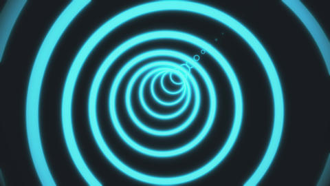 Abstract background with neon circles tunnel. 3d rendering animation of circles Live Action