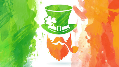 st patricks day with mysterious irish elf wearing a green headdress and an orange pipe on his lip Animation